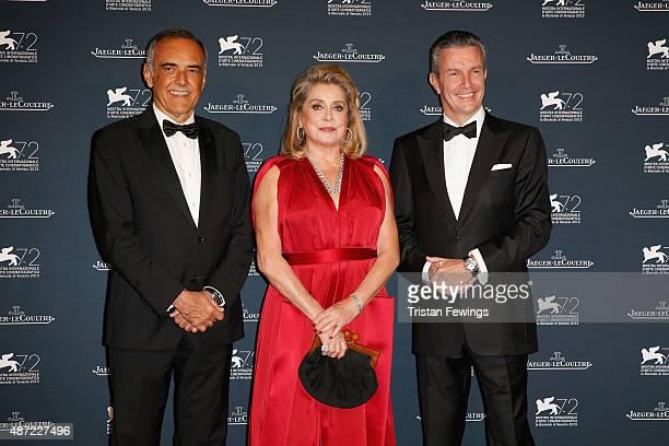 Venice Film Festival Director Alberto Barbera actress Catherine Deneuve and JaegerLeCoultre Ceo Daniel Riedo attend the JaegerLeCoultre gala event...