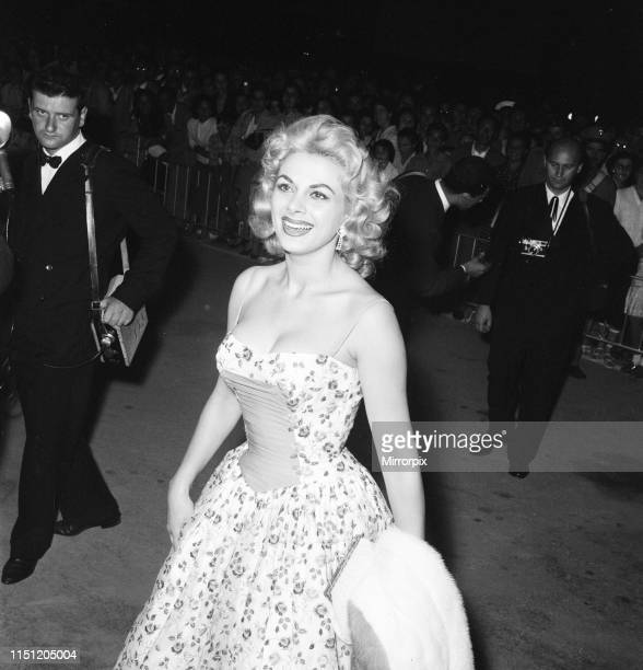 Venice Film Festival Friday 31st August 1956 pictured is Italian actress Sandra Milo arrives at the Casino applauded by fans and a member of the...