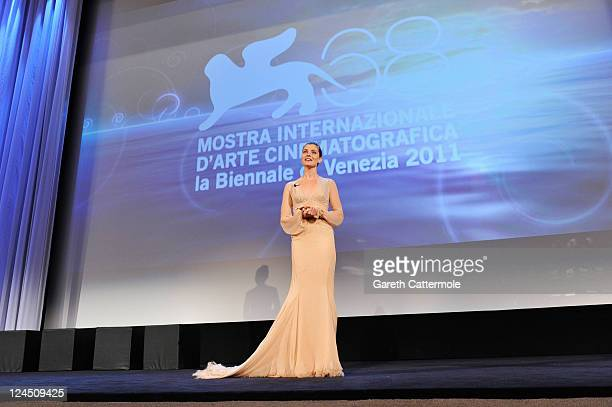 Venice Film Festival host Vittoria Puccini attends the Closing Ceremony during the 68th Venice Film Festival at Palazzo del Cinema on September 10...