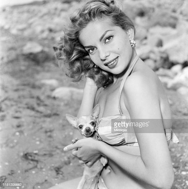 Venice Film Festival Italy Monday 3rd September 1956 pictured is Abbe Lane American singer and actress with pet dog a Chihuahua called Chicita