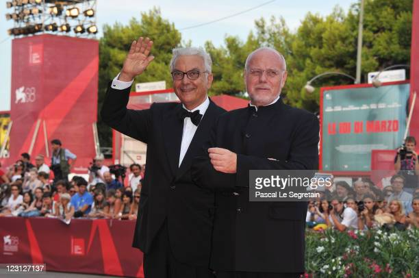 Venice Film Festival President Paolo Baratta and Venice Film Festival Director Marco Muller attend The Ides Of March premiere during the 68th Venice...