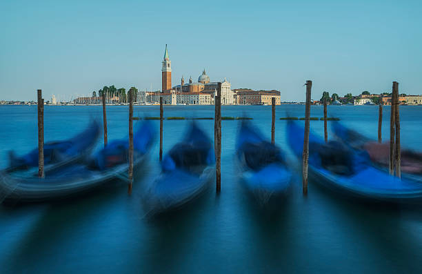 Venice gondolas with Church of San Giorgio maggiore in background, Venice, Italy