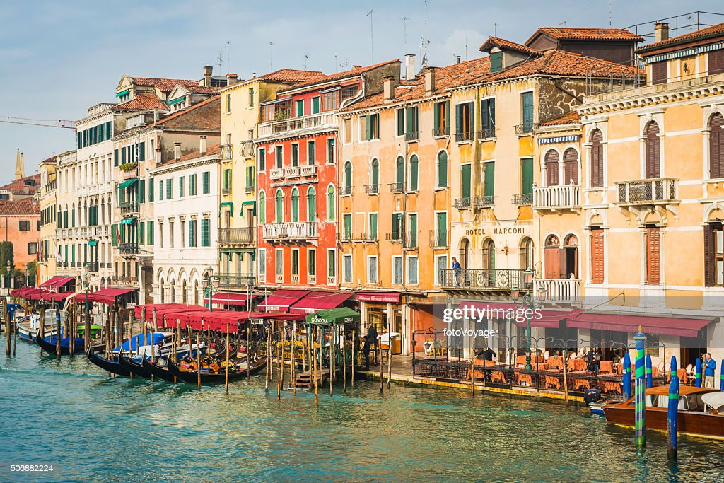 Venice Grand Canal Hotels Restaurants Gondolas And Colourful Palazzo