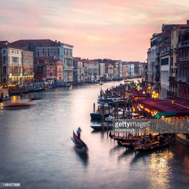 venice grand canal scene at dusk, veneto italy - vaporetto stock pictures, royalty-free photos & images