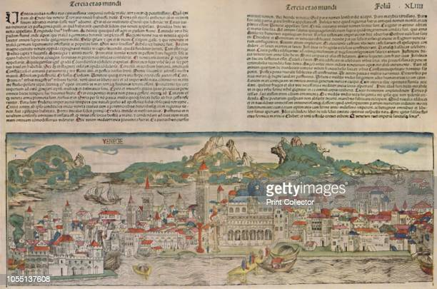 Venice in 1493 Coloured Woodcut from the Nuremberg Chronicle' 15th century cityscape of Venice in Italy with St Mark's and the Campanile in the...
