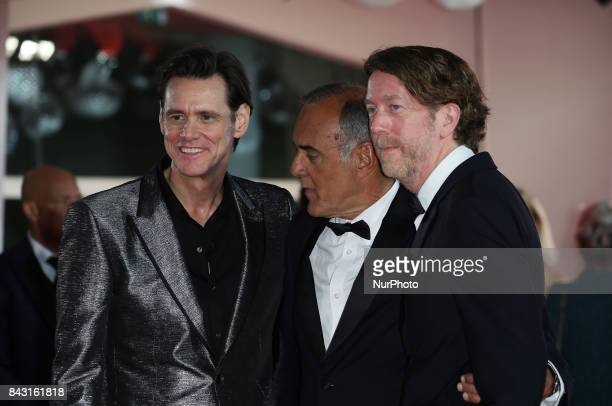 Venice Italy 05 September 2017Jim Carrey Alberto Barbera and Chris Smith attend the premiere of the movie 'Jim amp Andy The Great Beyond The Story Of...