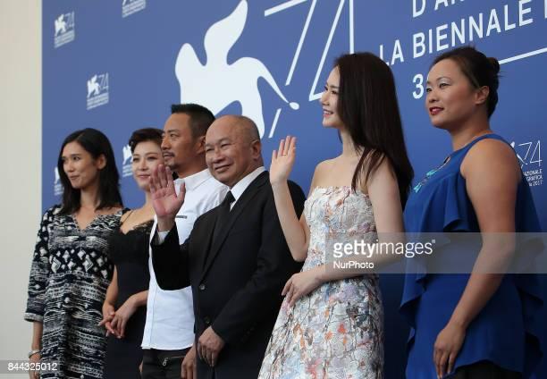 Venice Italy 08 September 2017 Tao Okamoto actress Ha JiWon actor Zhang Hanyu director John Woo actress Qi Wei and actress Angeles Woo attends the...