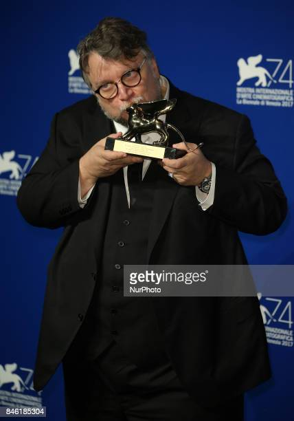 Venice Italy 09 September 2017 Guillermo del Toro poses with the Golden Lion for Best Film Award for 'The Shape Of Water' at the Award Winners...