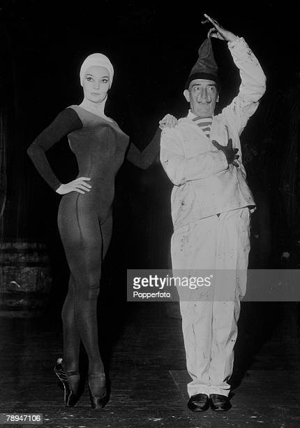 Venice Italy 25th August 1961 Spanish artist Salvador Dali with French dancer Ludmilla Tcherina at the Venice Film Festival