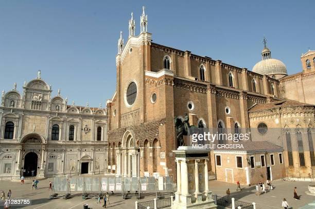 Campo San Giovanni e Paolo in Venice with the Condottiero equestrian statue of Bartolomeo Colleoni unveiled 23 June 2006 after three years of...