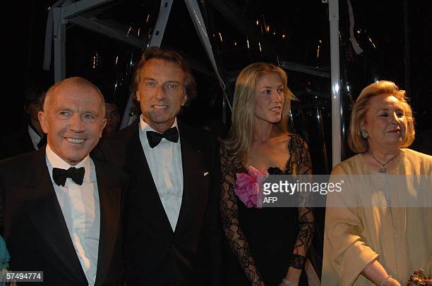 French businessman Francois Pinault and Maryvonne Pinault pose with Ferrari Director Luca di Montezemolo and his wife Ludovica at the inuagural of...