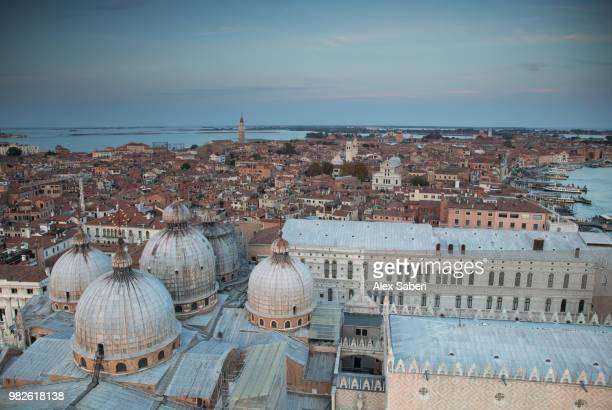 The city of Venice at sunset with the San Marco basilica.