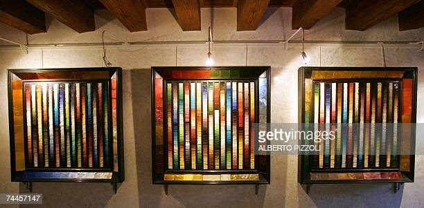 The panel displayed at the Universal Exposition of 1889 in Paris is pictured at Orsoni mosaic factory in Venice, 07 June 2007. The Orsoni name is...