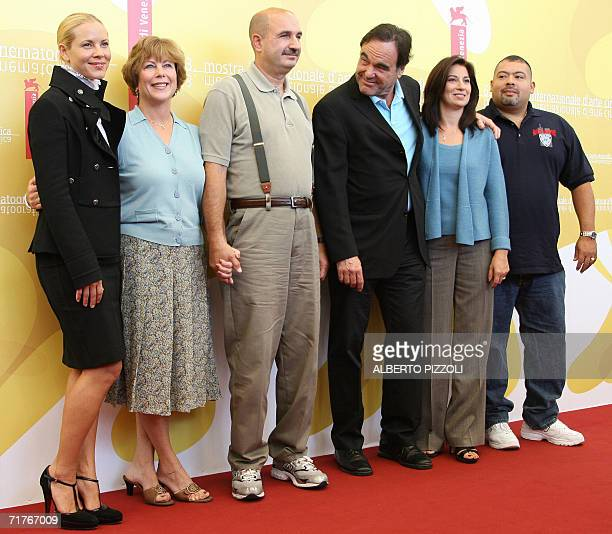 US actress Maria Bello Donna McLoughlin JJ Mc Loughlin US director Oliver Stone Allison Jimeno and Will Jimeno pose during World Trade Center...