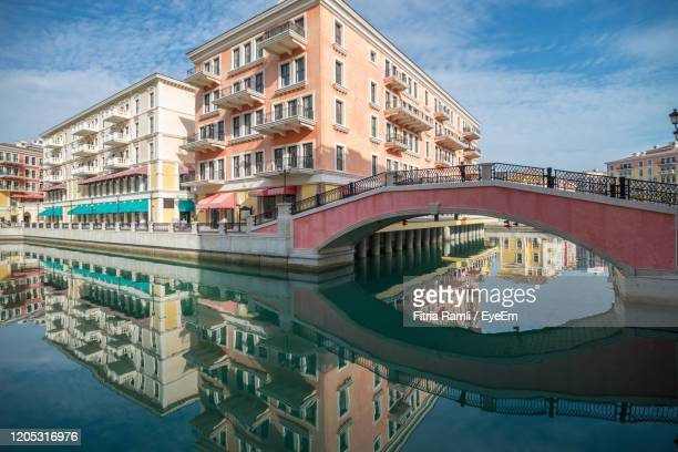 venice like qanat quartier at the pearl in doha, qatar, middle east. - qatar stock pictures, royalty-free photos & images