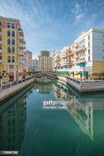venice like qanat quartier at the pearl in doha, qatar, middle east. - doha stock pictures, royalty-free photos & images