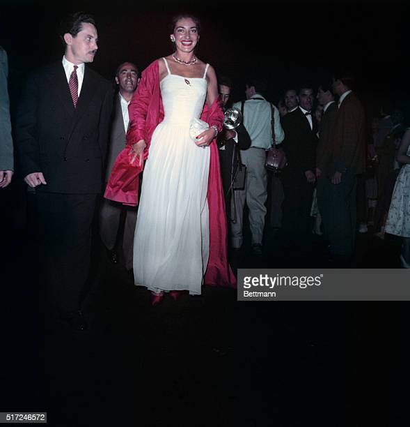Maria Meneghini Callas Italian Opera singer arriving at International Film Festival in Venice Italy 9/29/56