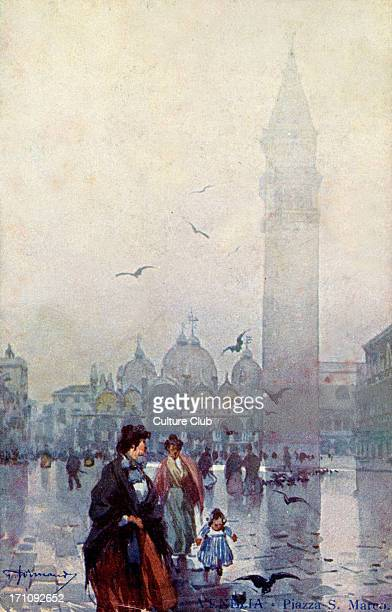 Venice, Piazza San Marco, Italy, view Technografica Milan, postcard .Stamped 1909. Artist unknown.