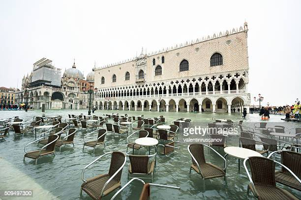 Venice, St Mark's square flooded from the high water
