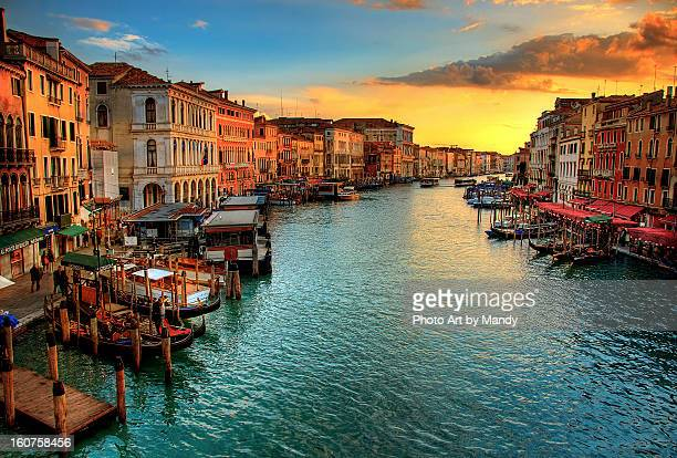 venice sunset - gran canal venecia fotografías e imágenes de stock