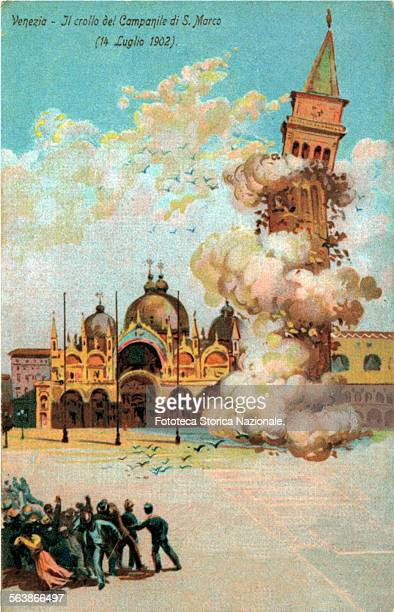 the bell tower of St Marco collapsed the July 14 1902 Illustrated postcard chromolithography Italy Venice 1902