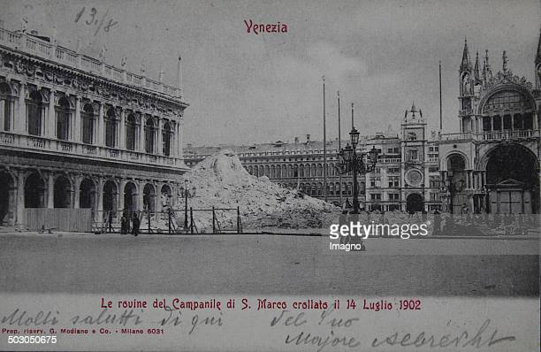 Venice The ruins of the collapsed Campanile 1904 Photograph