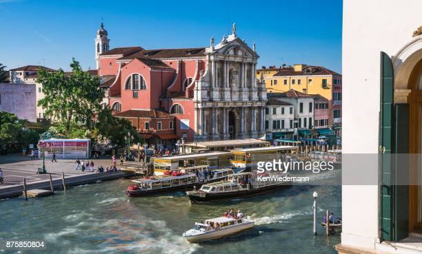 venice traffic jam - vaporetto stock photos and pictures