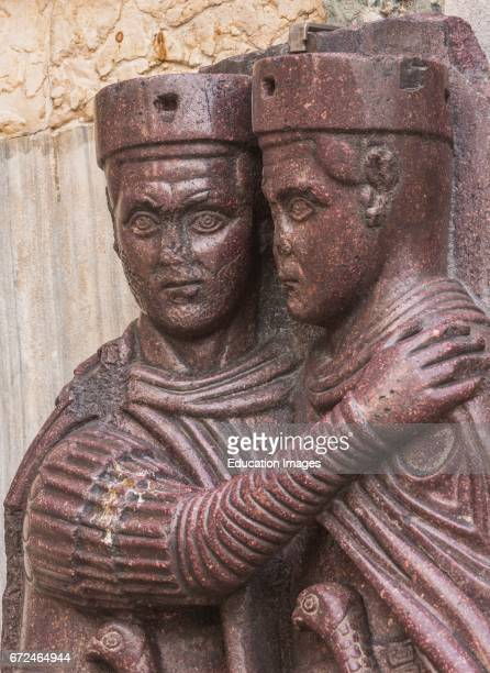 Venice Venice Province Veneto Region Italy Detail of the porphyry sculpture group outside St Mark's Basilica of four Roman emperors dating from...