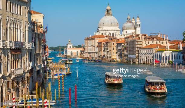 Venice, Venice Province, Veneto Region, Italy, View along the Grand Canal to Santa Maria della Salute, Venice is a UNESCO World Heritage Site.