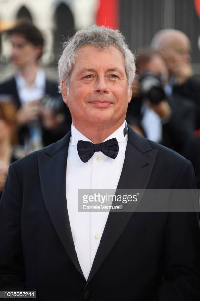 Venice Virtual Reality jury president Alessandro Baricco walks the red carpet ahead of the opening ceremony and the 'First Man' screening during the...
