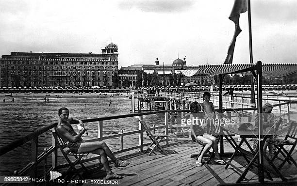 Venice's Lido, in the background Excelsior hotel, postcard, 1946