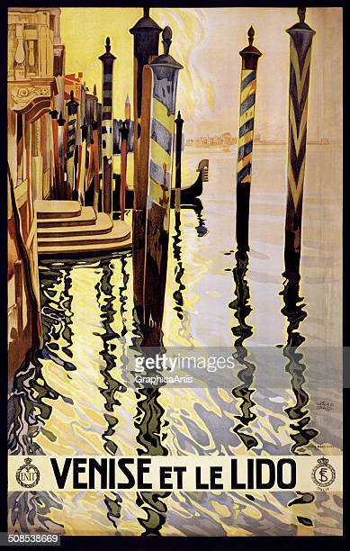 Venise et le Lido' travel poster by Vittorio Grassi with view of Venice c 1920