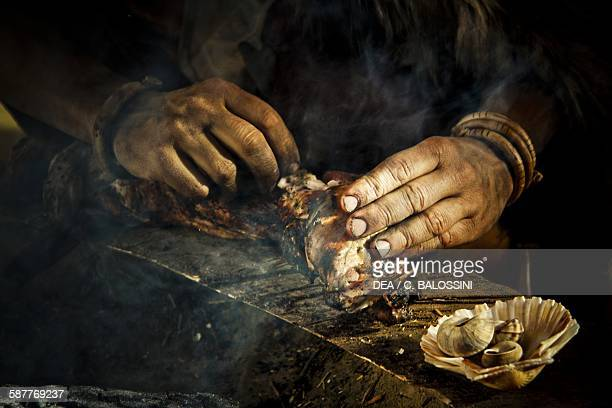 Venison being cooked in a Neolithic hut Historical reenactment
