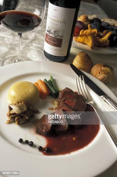 Venison fillet Il Borgo restaurant and cellar Rovereto Trentino Italy