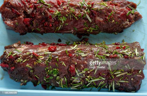 venison meat. uncooked raw deer meat fillets. - hugh threlfall stock pictures, royalty-free photos & images