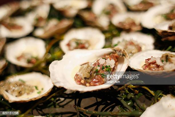 Venison tartare with oysters sour turnips and rye on display at the 2016 New York Taste presented by Citi hosted by New York Magazine on November 1...