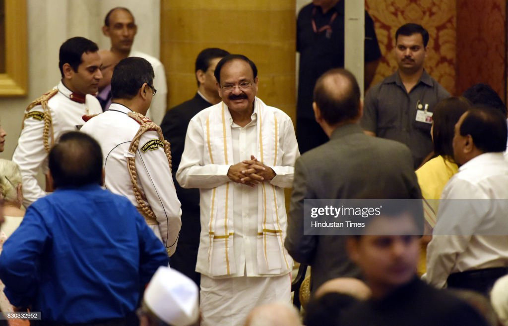 Venkaiah Naidu as the 13th VicePresident of India meet with guests before take administering Oath by President of India Ram Nath Kovind at Darbar...