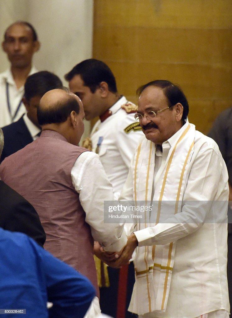 Venkaiah Naidu meet with Union Home Minister Rajnath Singh during the 13th VicePresident of India sworn ceremony by M Venkaiah Naidu at Darbar Hall...