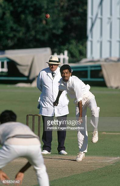 Venkatapathy Raju bowling for India during the tour match between Kent and the Indians at St Lawrence Ground Canterbury 7th July 1990 The umpire is...
