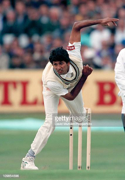 Venkatesh Prasad bowling for India during the 2nd One Day International between England and India at Headingley in Leeds 25th May 1996 England won by...