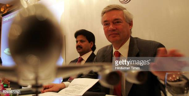 Venkattram Reddy Chairman Flyington Freighter Ltd and John Leahy Airbus Chief Operating Officer Customer at the press meet of Airbus