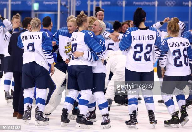 Venla Hovi of Finland celebrates with Annina Rajahuhta after defeating Olympic Athletes from Russia 32 during the Women's Ice Hockey Bronze Medal...