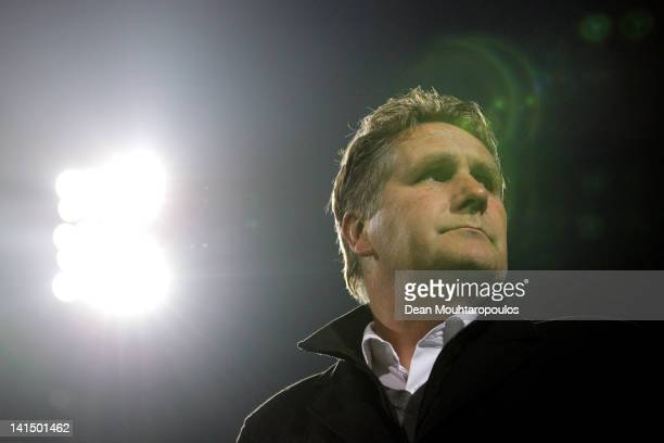 Venlo Manager / Coach Ton Lokhoff looks on prior to the Eredivisie match between VVV Venlo and NEC Nijmegen at Seacon Stadium De Koel on March 17,...