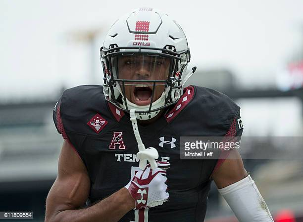 Ventell Bryant of the Temple Owls reacts after scoring a touchdown against the Southern Methodist Mustangs at Lincoln Financial Field on October 1...