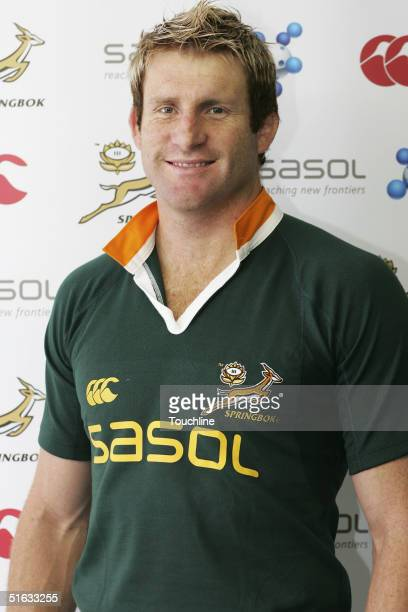 Venter is seen during a photo shoot for the South African rugby union squad with the new SASOL jersey at Newlands, on September 28, 2004 in Cape...