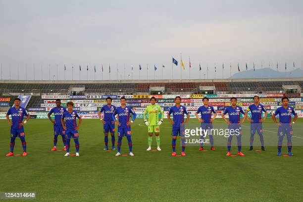 Ventforet Kofu players line up for the team photos prior to the J.League Meiji Yasuda J2 match between Ventforet Kofu and Albirex Niigata at the...