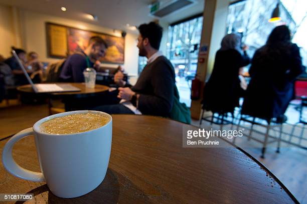 A venti sized caramel macchiato pictured in a Starbucks on February 17 2016 in London England Today Action on Sugar announced the results of tests on...