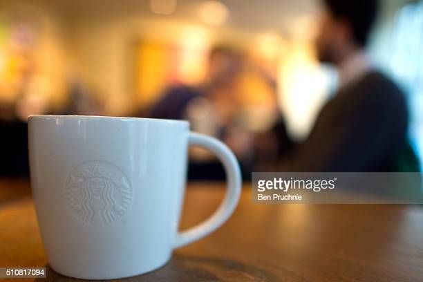 A venti sized chai latte pictured in a Starbucks on February 17 2016 in London England Today Action on Sugar announced the results of tests on 131...