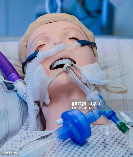 A ventilator is fixed at a dummy during an instruction of doctors at the Universitaetsklinikum Eppendorf in Hamburg on March 25 2020 Currently ten...