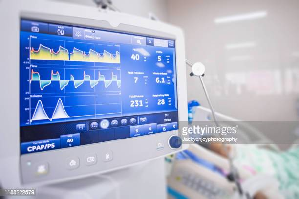ventilator monitor ,given oxygen by intubation tube to patient, setting in icu/emergency room - respiratory machine stock pictures, royalty-free photos & images